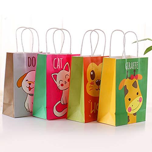 Toyvian Tier Papier Süßigkeit Taschen - Party Taschen mit Griffen, Groß, 12 ()