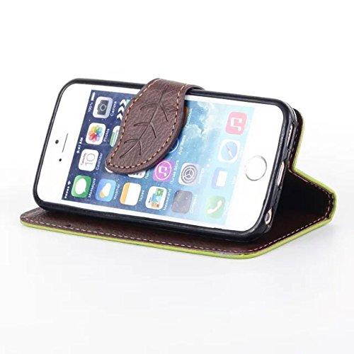 iPhone Case Cover Feuille Fermeture Magnétique Style Premium PU Housse en Cuir Portefeuille Housse avec Sangle de Main Folio Pretective Housse Silicone pour IPhone 5 5S SE ( Color : Black , Size : IPh Green
