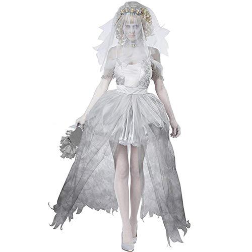 Noble Halloween Cosplay Adult Ghost Kleidung Horror Grauen Anzug Ghost Kostüm Bloody Ghost Bride Ghost Groom Women's (Für Erwachsene Ghost Groom Kostüm)