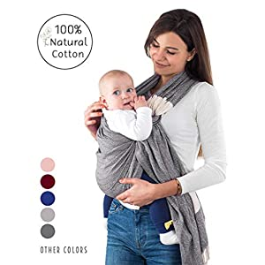 Handwoven Baby Ring Sling Carrier - 100% Natural Cotton, Extra Soft, Eco-Friendly, Sling Wrap Carrier - Lightweight Sling for Newborn, Infant, Toddler, Best Baby Shower Gift, Nursing Cover (Grey)   2