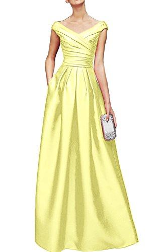 Gorgeous Bride Elegant Lang V-Ausschnitte Empire Satin Cocktailkleid  Partykleid Festkleid Daffodil