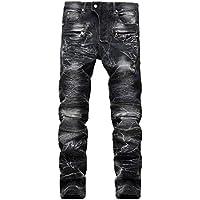 Cebbay Liquidación Pantalones de Hombre Pantalones Bolsillo Retro con Cremallera Locomotora Pantalones Casuales Viento Urbano Cómodo en otoño e Invierno(Negro, EU Size 31=Tag 32)