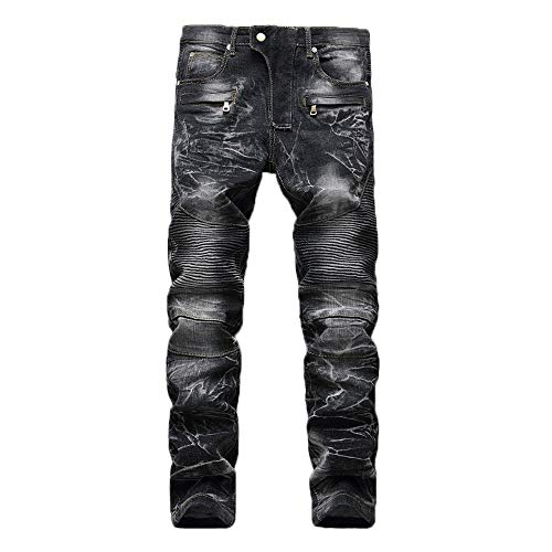 Geili Herren Jeans Hose Lang Vintage Used Look Destroyed Hohl Löchern Jeanshosen Denim Pants Basic Regular Fit Straight Jeans Große Größen Hip Hop Biker Hose Radlerhose Radhose - Vintage Hip Hop
