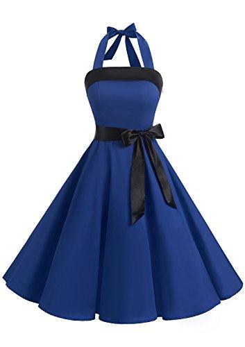 Timormode 10212 Damen Vintage Kleid 1950 Neckholder Cocktailkleid Faltenrock Partykleid S Royalblau -