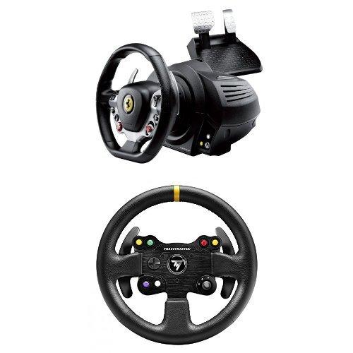 Pack Thrustmaster TX Racing Wheel Ferrari 458 Italia Edition - Volant FFB avec Puissant Retour + Volant ThrusMaster 28 GT Roue Add-on en cuir pour volant PC/PS4