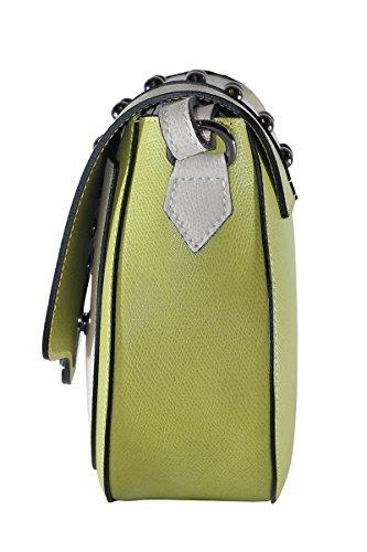 BORDERLINE - 100% Made in Italy - Sac en véritable sac à bandoulière en cuir avec des clous - VALERIA Vert Lime