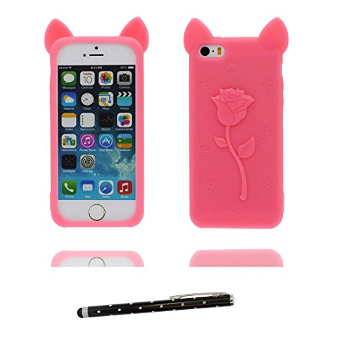 Hülle iPhone 5, iPhone 5S Case [ TPU 3D Cartoon Bär bear ] Handyhülle iPhone 5G SE 5s 5C Cover Shell, haltbare weiche Skin Staub-Beleg-Kratzer beständig und Touchstift Rose