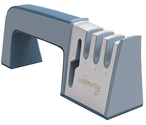 Wamery Afilador de Cuchillos y Tijeras 4 en 1, Herramienta Manual Afilar Cuchillos de Cocina Desde Casa - Afilador Profesional con Mango Ergonómico y Base Antideslizante