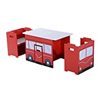 HOMOCM Wooden B 3PC Kids Table and Chairs Set Mutifunctional Bench Seat Children Book Case Toy Storage Shelves Bus Appearence Red