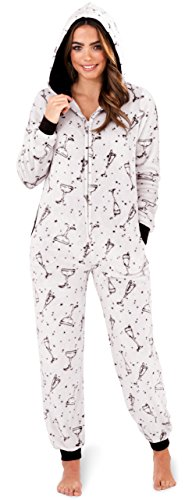 Stylish, Ladies, Womens Flannel Fleece Prosecco Print All in One Onesie, Jumpsuit, Silver, XS-Large - 41Qf5AdBHbL - Stylish, Ladies, Womens Flannel Fleece Prosecco Print All in One Onesie, Jumpsuit, Silver, XS-Large