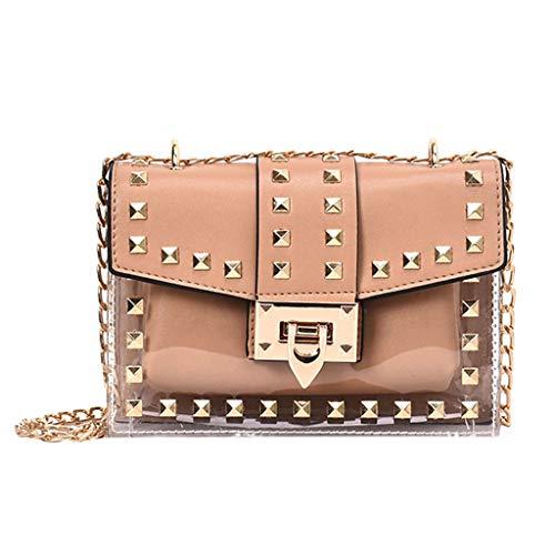 Mitlfuny handbemalte Ledertasche, Schultertasche, Geschenk, Handgefertigte Tasche,Damenmode Niet Diagonale Paket transparente Umhängetasche Kette Tasche