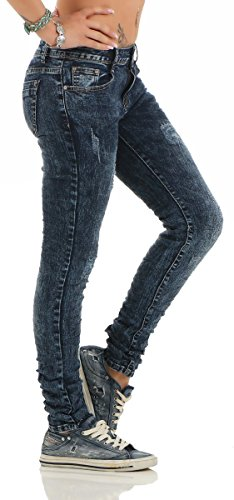 4367 Fashion4Young Knackige Damen Jeans Hose Röhrenjeans Baggy Boyfriend Damenjeans Dunkelblau