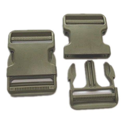 Lama333-50mm Clip Plastic Buckles, 2 Pieces (Green / OD)