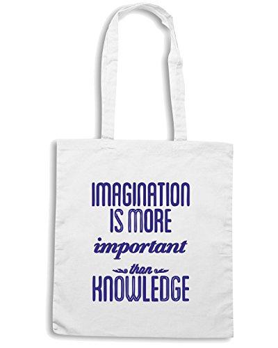 T-Shirtshock - Borsa Shopping CIT0136 l immaginazione e piu importante della conoscenza Bianco