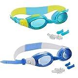 2er-Set Kinder Schwimmbrillen mit 2 verstellbaren Nasenstegen und Ohrstöpseln - Antibeschlag Sportbrille mit UV-Schutz für Mädchen und Jungen - Wasserbrille Schutzbrille Taucherbrille zum Schwimmen - Wasserdichte Hochwertige Junior Schwimmbrille