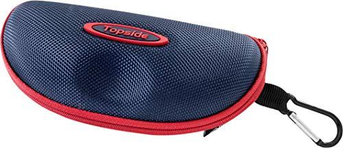 TOPSIDE Brillenetui (blau) Hardcase stoßabsorbierend mit Reißverschluss - Inkl. Karabinerhaken, Brillenband, Aufbewahrungsbeutel & Mikrofaser-Reinigungstuc