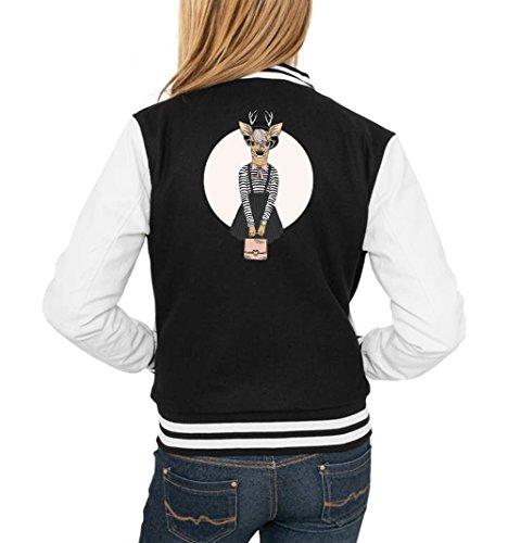 Fashion Deer College Vest Girls Black Certified Freak-XL