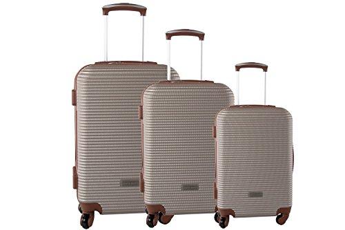 3 Maletas rígidas PIERRE CARDIN bronce cabina para viajes S331