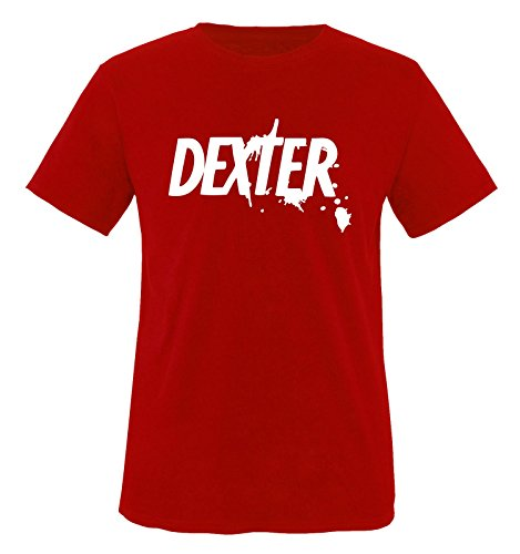 Dexter - Herren Unisex T-Shirt Rot / Weiss