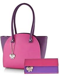 Butterflies Women's Handbag (Pink And Purple) (BNS WB098)