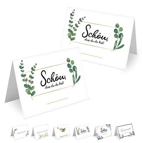 MAVANTO® 50x Design Tischkarten Hochzeit Geburtstag DIN A7 - Platzkarten zum Beschriften in vielen verschiedenen Designs (Blätter 2)