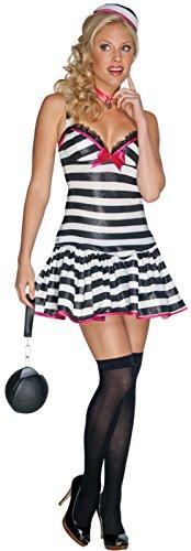 Sexy Sträfling Kostüm für Damen - schwarz/weiß - Gr. (Sträfling Kostüme Halloween Sexy)