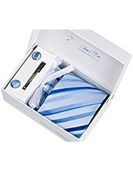 Coffret Cadeau Ensemble Cravate homme, Mouchoir de poche, épingle et boutons de manchette Larges Rayures Bleues