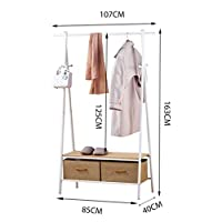 Clothes rack, Drying Rack Double Shelf Change Shoe Bench With Hamper Multifunction TINGTING-garment rack (Color : White, Size : 107 * 40 * 163cm)