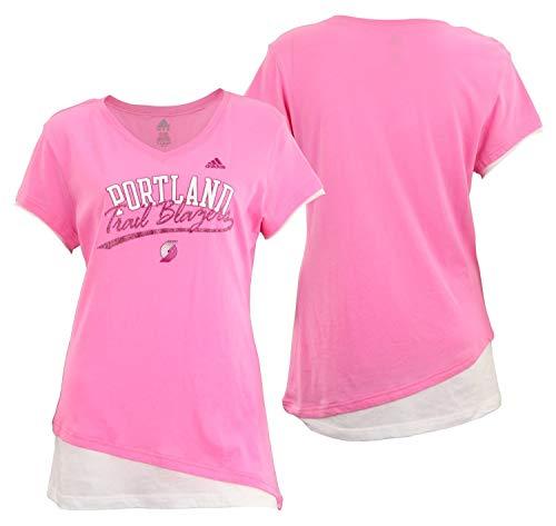 Layered Jersey-t-shirt (adidas Portland Trail Blazers NBA Damen Layered Lang Tissue Tee, Pink, Damen, Rose, Large)