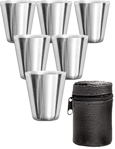 Outdoor Saxx® - 7-Teiliges Edelstahl Trink-Becher Set | 6 unzerbrechliche Schnaps-Becher + Leder-Tasche | ideales Flachmann-Zubehör