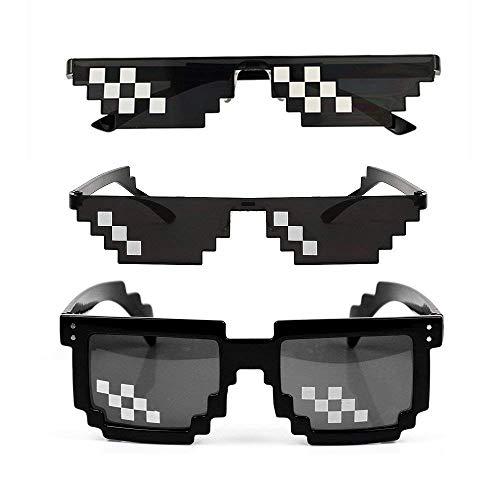Kany 3 Pack Männer Frauen Glas 8 Bit Pixel Mosaik Gläser Foto Requisiten Unisex Sonnenbrille Spielzeug - Schwarz