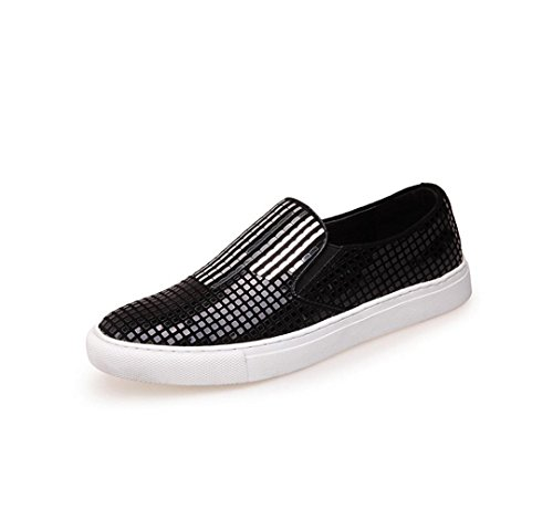 HYLM di da ginnastica scarpe Scarpe pattini piani delle di Black cuoio Scarpe di casuali dei dei tennis da discoteca di sport pattini Sequins da genuini 8v8Ewr