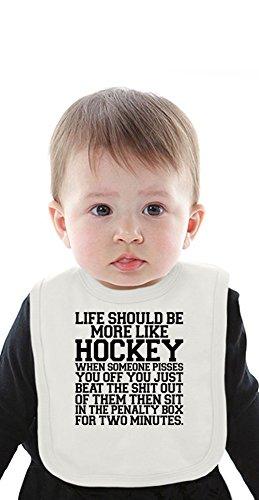 Life Should Be More Like Hockey Slogan Organic Bib With Ties Medium Hockey-baby-bib