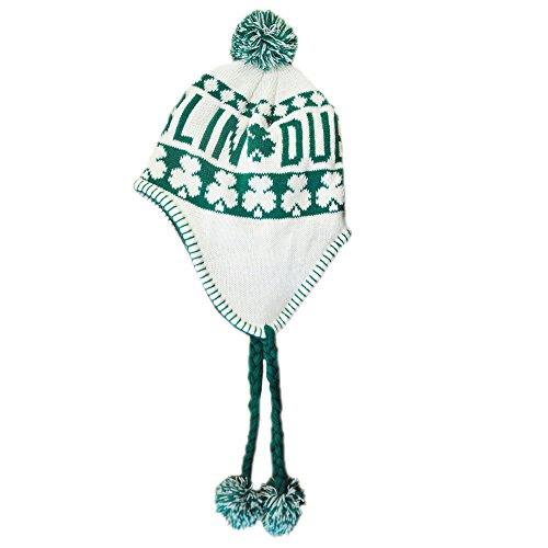 Preisvergleich Produktbild Peruanische Strickmütze mit grünen Dublin Text und weißen Shamrocks