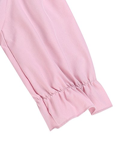 StyleDome Donna Vestito Corto Manica Lunga Autunno Abito Casual Elegante Maglietta Nuovo Top T-shirt Rosa