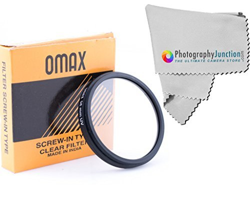 Omax 58mm UV Filter Ultra Violet + Free Photography Junction Micro Fiber Cloth for Canon EF 24mm f/2.8 IS USM, Canon EF 28mm f/2.8 IS USM, Canon EF-S 55-250mm f/4-5.6 IS II  available at amazon for Rs.350