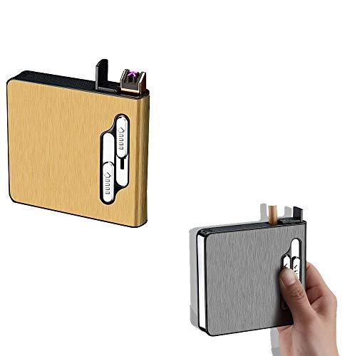 2 PS Zigarettenetui mit Feuerzeug für 20 Zigarren Elektro-USB ohne Gasfackel wiederaufladbar Flame Smoking Zubehör als Geschenk für Raucher 2 Knöpfe zur Steuerung, schwarz + silber,gold+black (Auto-zigarren-feuerzeug)