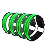 Diadia 4Pcs LED Light Bright Arm Armband Strap Reflective Bracelet Luminous Wristbands,Safety Runing