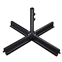 IsEasy Patio Umbrella Base, Garden Parasol Base Cantilever Stand Heavy Duty Metal Foldable Large Cross Frame Strong And Durable