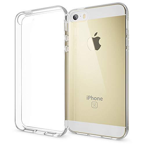 NALIA Handyhülle kompatibel mit iPhone SE 5 5S, Ultra-Slim Silikon Motiv Case Schutz-Hülle Dünn Durchsichtig, Etui Handy-Tasche Telefon-Schale Back-Cover Gummi-Hülle Smart-Phone Bumper - Transparent
