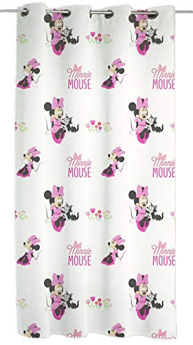 Hermet srl tenda velo disney a pannello con anelli lavabile prodotto originale, minnie mouse, topolino mickey, frozen, spiderman, principesse cm 140 x 290 (minnie mouse)