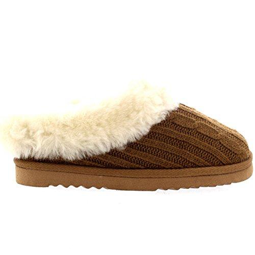Polar Damen Echten Australischen Schaffell Pelz Gefüttert Knitted Pantoffeln Tan