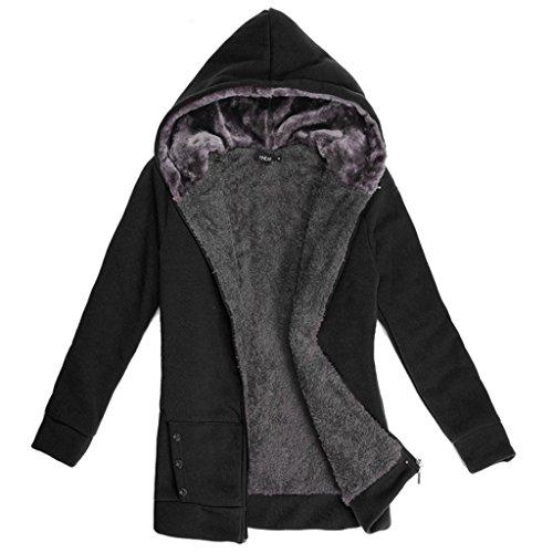 Highdas modo delle donne cappotto caldo del vestito casuale Felpe lunga Felpe Fleece Jacket Women Nero