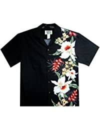 KY's | Original Hawaiian Shirt | For Men | S - 4XL | Short-Sleeve | Front-Pocket | Hawaiian-Print | Hawaiian Flowers | noir
