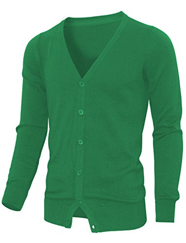 HRYfashion boutons pression en tricot avec col en v pour homme Vert - Vert