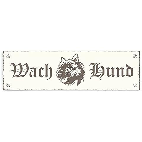 Targhetta decorativa « Cane da guardia–Cairn Terrier » Shabby Vintage targa in legno Targa fuori porta decorazione Warnschild pittogramma