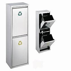 SVITA Edelstahl Abfallsammler Abfalleimer Mülleimer Mülltrennung mit Schub-Fächern Wandmontage (30 Liter 15L+15L)