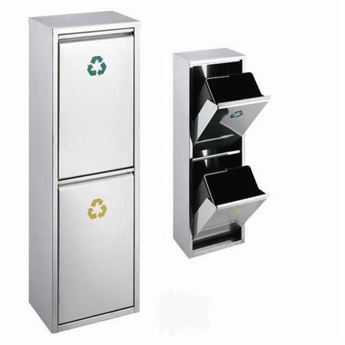 *Edelstahl Abfallsammler Abfalleimer Mülleimer Mülltrennung NEU (30 Liter 2x15L)*