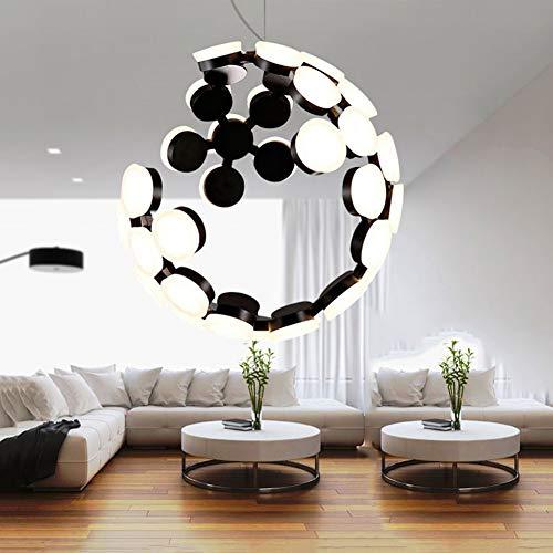 WYNA Nordic Postmodern Moon Globle LED Kronleuchter Restaurant Wohnzimmer Schlafzimmer Design Einfache kreative Lichter,Black(White) -