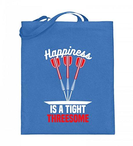 Hochwertiger Jutebeutel (mit langen Henkeln) - Happiness is a Tight Threesome - Dart Darts Dartscheibe Bullseye